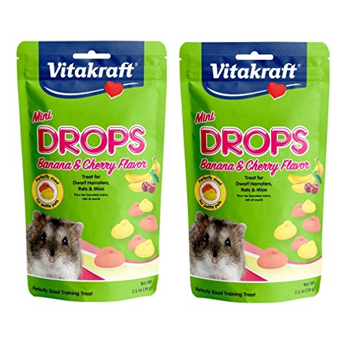 Vitakraft 2 Pack of Mini Drops Treats, 2.5 Ounces Each, Banana and Cherry Flavor, for Dwarf Hamsters Rats and Mice