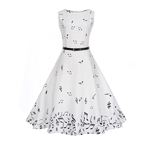 6025dca0699 vmree Women Vintage 1950 s Audrey Hepburn Style Dress Music Note Waisted  Rockabilly Swing Sundress (White