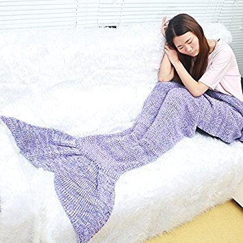 Xiujanet Handmade Knitted Mermaid Tail Blanket,Super Soft and Fashion Sleeping Bags for Adult (purple)