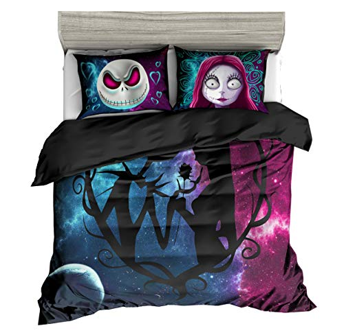 KTLRR 3D Nightmare Before Christmas Duvet Cover Sets,Jack and Sally Valentine's Day Rose Decor, 100% Microfiber Galaxy Bedding Set with Pillow Shams 3PCS Bedding,No Comforter (Christmas, Queen 3pcs) -