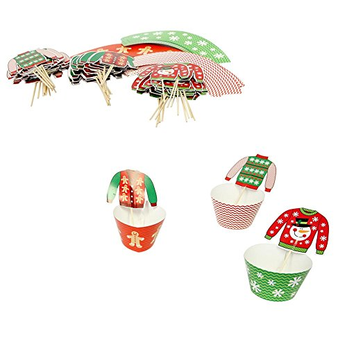 Christmas Sweater Cupcake Wrappers Picks