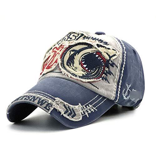 野球帽 男性女性 綿のサメの刺繍フィット キャップ,グレー