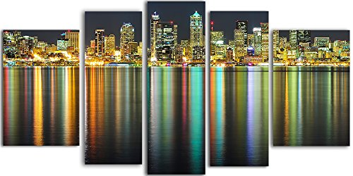 Startonight Glass Wall Art Acrylic Decor Great American Cities, and a Contemporary Clock Set of 5 Total 35.43 X 70.87 Inch the Ultimate Wall Art by Glass Wall Art