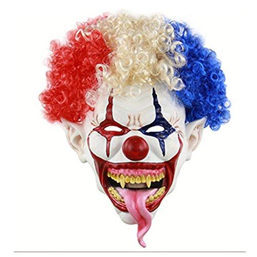 Halloween Explosion Head Big Mouth Long Tongue Clown Mask Latex Maske Dressing Headgear White