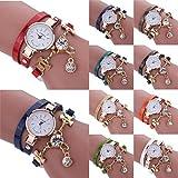 Mchoice Fashion Women's Ladies Faux Leather Rhinestone Analog Quartz Dress Wrist Watches