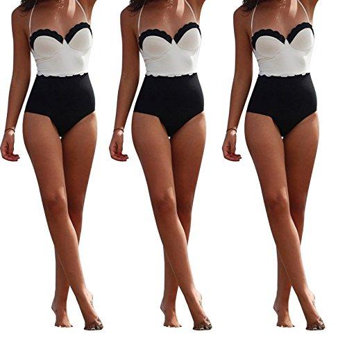 Soxid (TM) Las mujeres de una pieza atractivo de talle alto traje de ba?o de Monokini del bikini empuja hacia arriba el acolchado de trajes de ba?o traje de ba?o