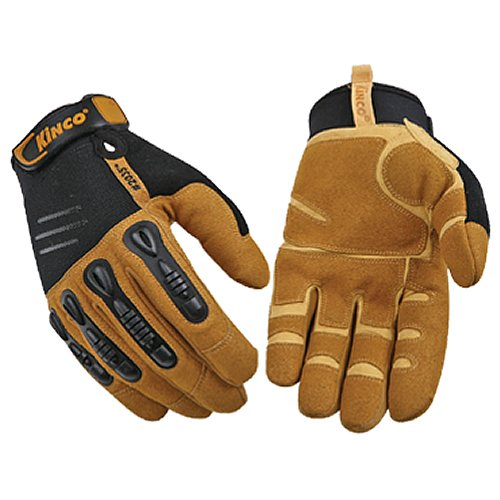 KINCO 2035-XXL Men's Unlined Foreman Gloves, Double Layer MiraX2 Tan and Synthetic Leather Palm, Xx-Large, Brown