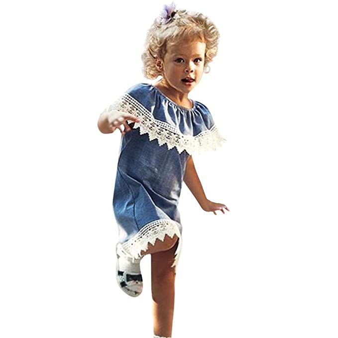 BBsmile Niños niñas volantes de encaje sólido denim princesa vestido de fiesta ropa (Azul,