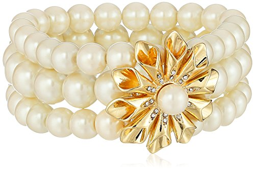 Bracelet Floral Carolee (Carolee Pearl Glam Row and Floral Burst Stretch Bracelet)