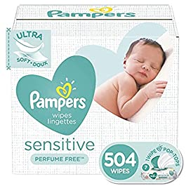 Baby Wipes, Pampers Sensitive Water Based Baby Diaper Wipes, Hypoallergenic and Unscented, 7 Pop-Top Packs, 504 Count Total Wipes (Packaging May Vary)