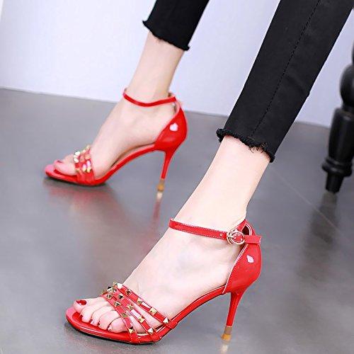 Remaches Delgados En Mujer Verano 9Cm Moda De Tacones Zapatos KPHY Hebillas Sexy Sandalias Vaciado gules Altos Tacones dvXS1xwq