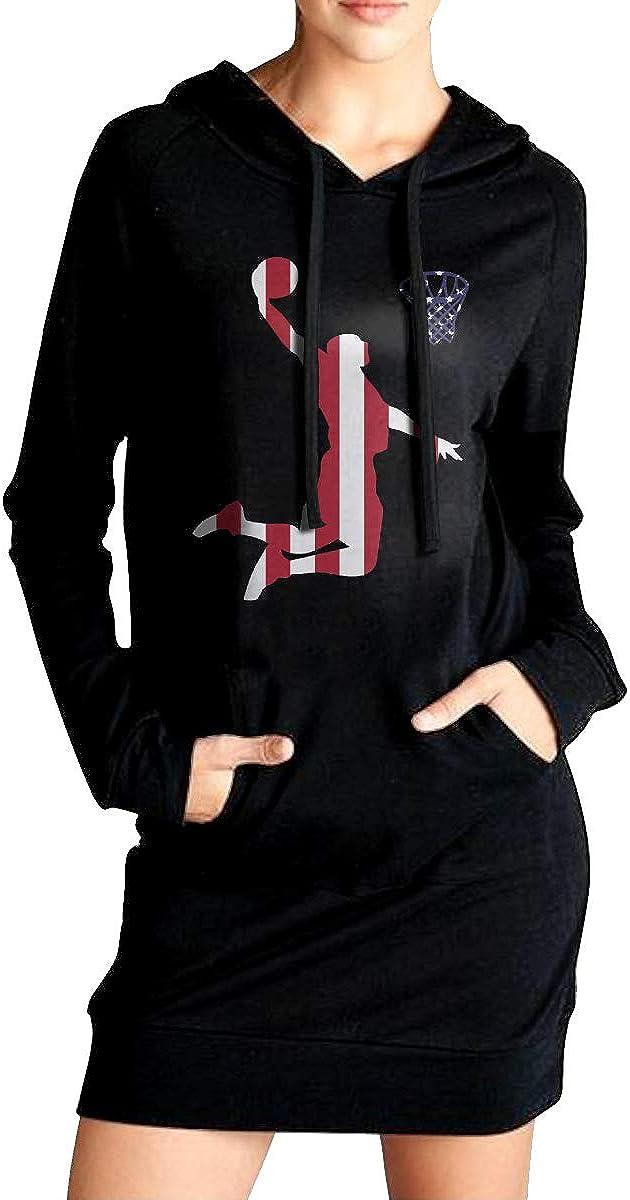 90s Basketball USA Flag Sweater with Kanga Pocket ADA/&KGH Womens Casual Fleece Long Hoodie Dress