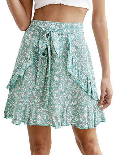 Miessial Women's High Waist A Line Mini Skirt Pleated Ruffle Cute Beach Short Skirt (4/6, Floral Green) ()