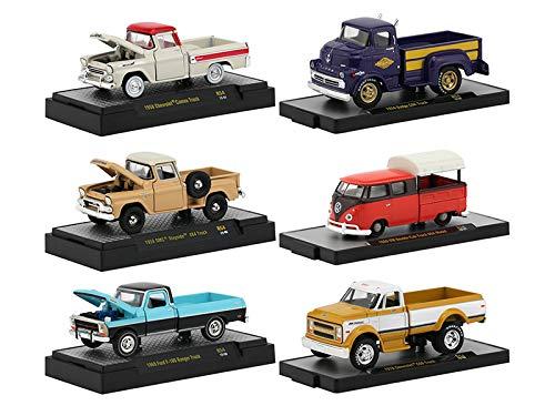 M2 Machines Auto Trucks 6 Pickup Trucks Set, Release 54 in Display Cases 1/64 Diecast Model Cars 32500-54