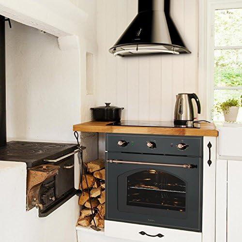 Klarstein Set Vilhelmine y Noir Prima (horno empotrable de 55 litros, campana extractora con capacidad de 430 m³/h, diseño victoriano) - negro: Amazon.es: Grandes electrodomésticos
