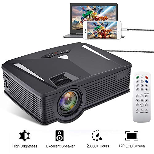 Portable Mini Projector Full HD, Neefeaer Video Projector Multimedia LCD Home Theatre Projector Support 1080P HDMI USB SD Card VGA AV TV Laptop iPad Smartphone for Home Entertainment Games by Neefeaer