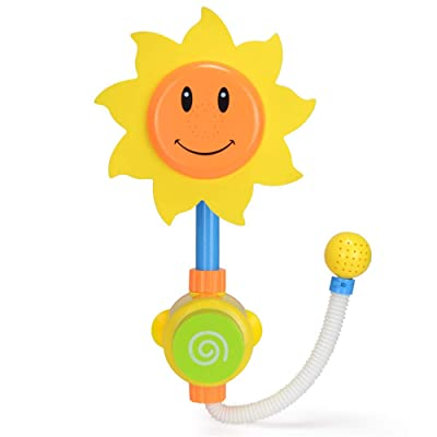 WE&ZHE Manual Press Bath Toys Bathtub Toys,Creative Cartoon Cute Friendly Material Sunflower Flow Spray Flower Shower Toy for Kids Toddlers: Home & Kitchen