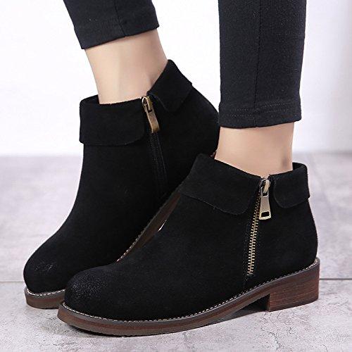 NSXZ Korean version of matte leather boots plus velvet warm Martin boots snow boots with low double zipper student boots BLACK-90160CM