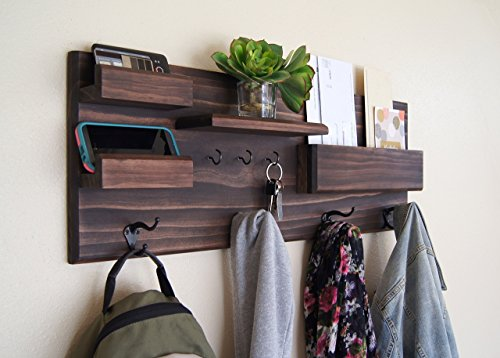 Entryway Organizer Coat Rack with Mail and Phone Storage Ledges and Key Hooks by Midnight Woodworks
