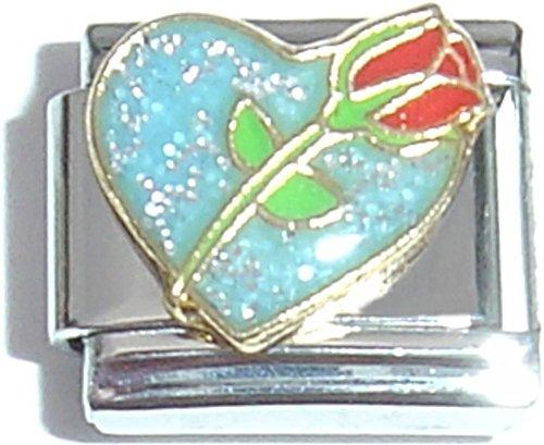 Red Rose Italian Charm Bracelet - Rose On Blue Heart Italian Charm