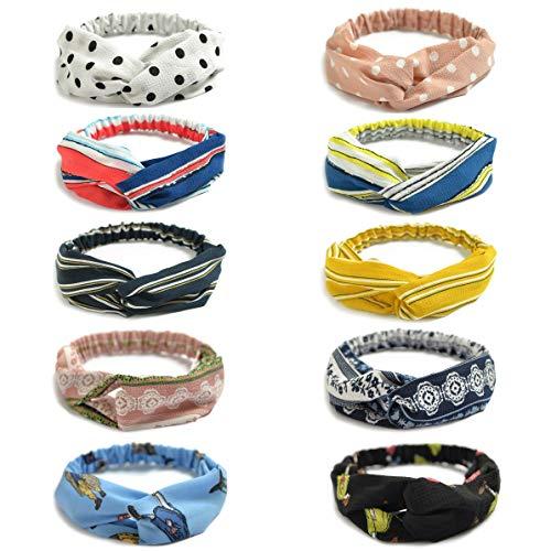 10 Pack Women's Headbands Boho Flower Printing Twisted Criss Cross Elastic Hair Band Accessories ()