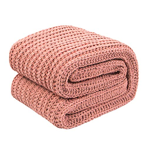 NTBAY Chenille Knitted Throw Blanket, Warm & Cozy, for Couch Sofa Bed Beach Travel, 50 x 60, Pink