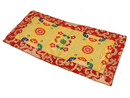DharmaObjects Tibetan Buddhist Silk Brocade Table Runner/Shrine Cover/Altar Cloth/Table Cover (16 X 8 Inches)