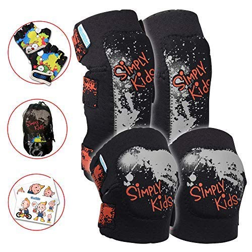 Knee and Elbow Pads with Bike Gloves | Toddler Protective Gear Set | Comfortable Breathable Safe | Roller-Skate, Skateboard for Boys and Girls ()