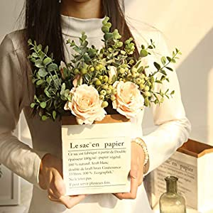 Youmymind Artificial Flowers Real Looking Rose Hydrangea Flowers for DIY Wedding Bouquets Centerpieces Bridal Wedding Party Home Decoration (Beige) 79