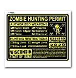 Wisconsin WI Zombie Hunting License Permit Yellow - Biohazard Response Team - Window Bumper Locker Sticker