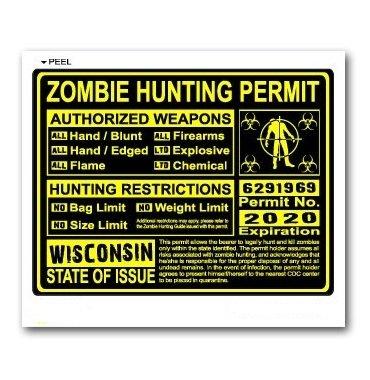 Wisconsin WI Zombie Hunting License Permit Yellow - Biohazard Response Team - Window Bumper Locker Sticker
