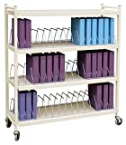 Extra Wide Vertical Open Chart Rack 4 Shelves 45 Binder Capacity (Beige)
