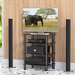 FITUEYES Glass HIFI Rack TV Stand Media Component Shelves Cabinet AS406001GB – Super HiFi rack from Fitueyes.