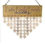 Faith Family Friends Birthday Calendar Wooden DIY Wall Decor Calendar Board with 50pcs Heart Shape Tags
