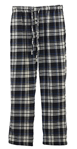 Stripe Pajama Bottoms (Gioberti Mens Flannel Pajama Pants, Elastic Waist, Black / Blue Stripe, Large)