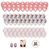 """elegant party themes Large Set of 60 PREMIUM 12"""" Rose Gold Confetti Balloons: with Ribbon and Confetti Bag. Elegant Decorations for Shower, Bridal, Wedding, Engagement, Birthday Party. Pink, Blush, Ivory, Champagne Themes"""