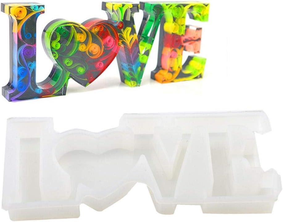 for Pendant Craft Home Ornament Urnanal DIY Casting Mold Handmade Crystal Glue Mold Love Silicone Mold Love Letter Mold Handmade Alphabet Resin Silicone Mold DIY Crystal Epoxy Silicone Mold
