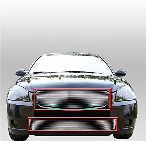 ZMAUTOPARTS Main Upper +Bumper Billet Grille Grill Polished 2Pcs Combo Set For Altima