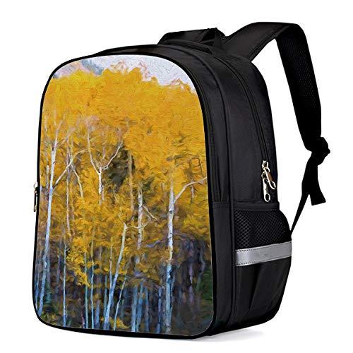 (Kid School Backpack Shoulder Book Bag for Teenage Girls Boys,Natural forest landscape yellow leaves birch Schoolbag ChIld Backpacks,13 Inch)