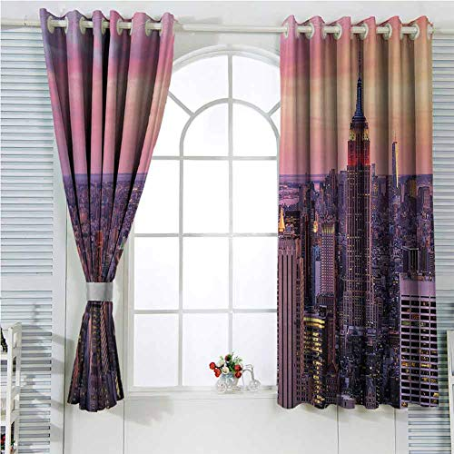 hengshu New York Eclipse Blackout Curtains New York City Midtown with Empire State Building at Sunset Business Center Rooftop Photo Patio Door Curtains Living Room Decor W107 x L96 Inch Peach (Building A Patio Rooftop)