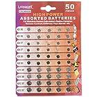 Loopacell 7A-QBSM-TPSW High Power Super Alkaline Button Cell Assorted 1.5V Battery AG3/LR41 AG4/LR626 AG5/LR754 AG10/LR1130 AG13/LR44 Pack of 50