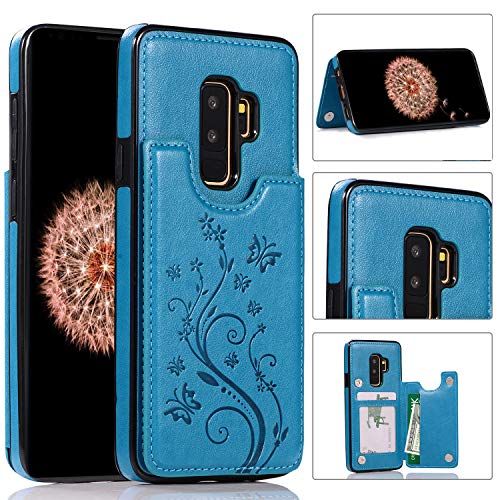 (Samsung Galaxy S9 Plus Case Leather Flip Wallet Case, Akimoom Butterfly Embossed Double Magnetic Clasp Leather Kickstand Card Slots Protective Skin Case Cover for Samsung Galaxy S9 Plus(Blue))