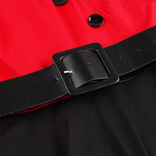 ZAFUL Mujer Vestido Vintage 50s Audrey Vestidos de Fiesta Cortos Mangas Cortas Cuello V con Cinturón Tallas Grande Rojo S a 4XL