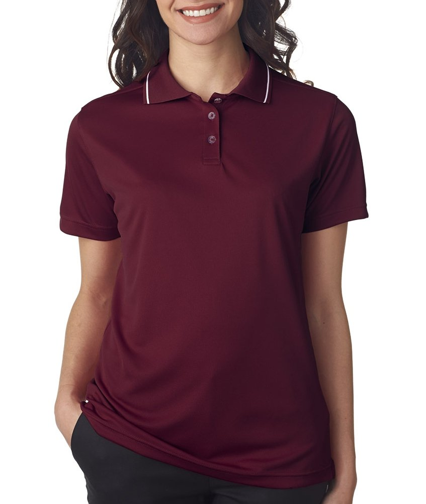Ultraclub Ladies Polo with Tipped Collar 8394L -Maroon/ Whit M