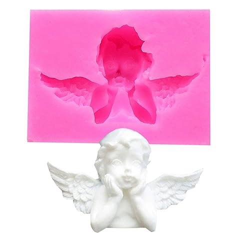 Fangfeen 5.5 * 4.2 * 1.5 cm Mini Forma de Ángel Fondant Molde de Silicona para