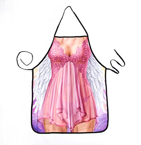 Creative Apron Kitchen Cooking Adult Apron Sleeveless Creative Sexy Lady Character Pattern Baking Aprons for Adding More Happiness (Angel) Angels Apron