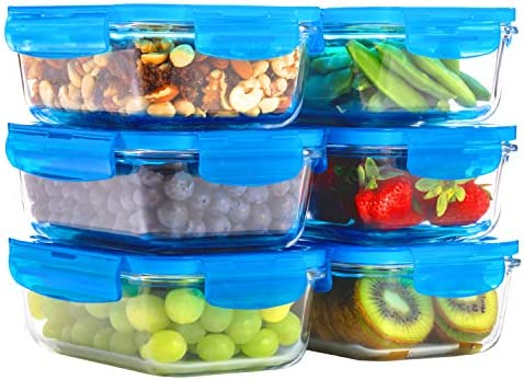 6 Pack 28oz Glass Meal Containers product image
