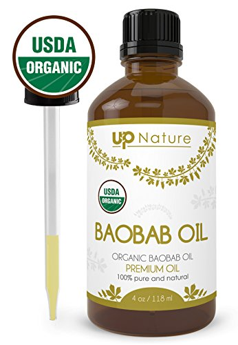 Baobab Essential Oil - Pure, Organic, Unrefined, Non-GMO - Natural Serum For Hair Growth & Shine - Great As Moisturizer, Under Eye Bags, Stretch Marks - With Dropper (4 oz.) by UpNature