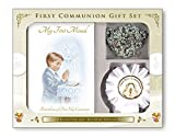Boys First Holy Communion, Catholic Gift Set - My First Missal Book, Communion Rosary Beads & Rosette (C5202)