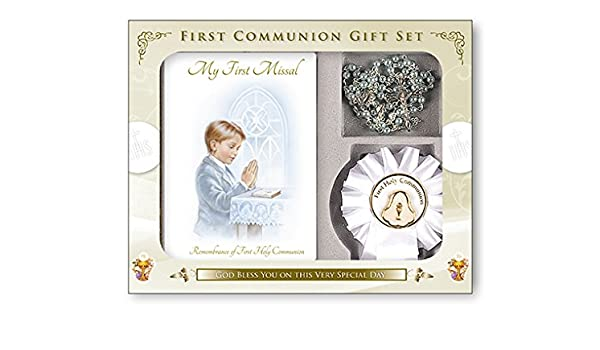 Amazon.com : Boys First Holy Communion, Catholic Gift Set - My First Missal Book, Communion Rosary Beads & Rosette (C5202) : Baby